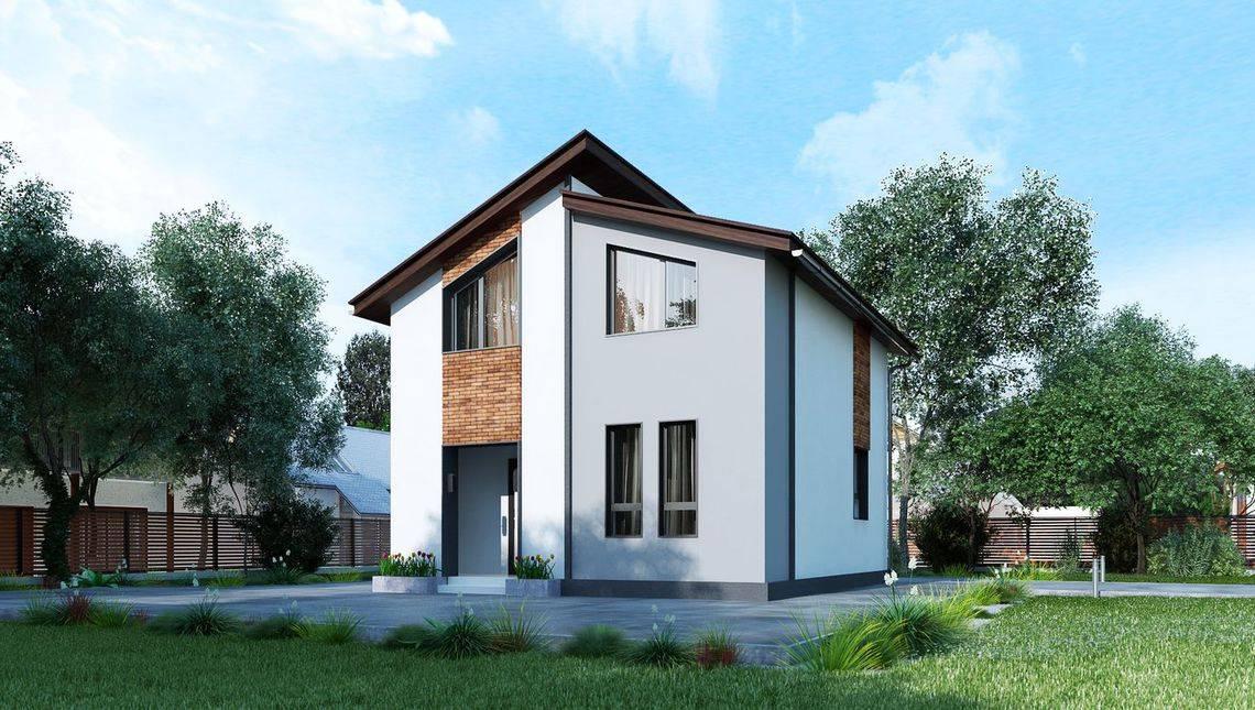 Проект небольшого симпатичного двухэтажного дома площадью до 80 m²