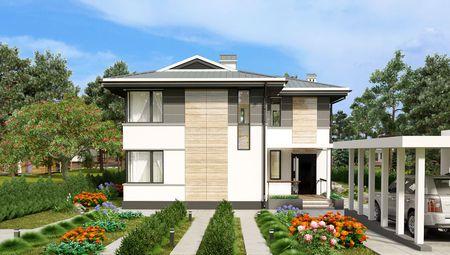 План шикарного современного особняка с четырьмя спальнями