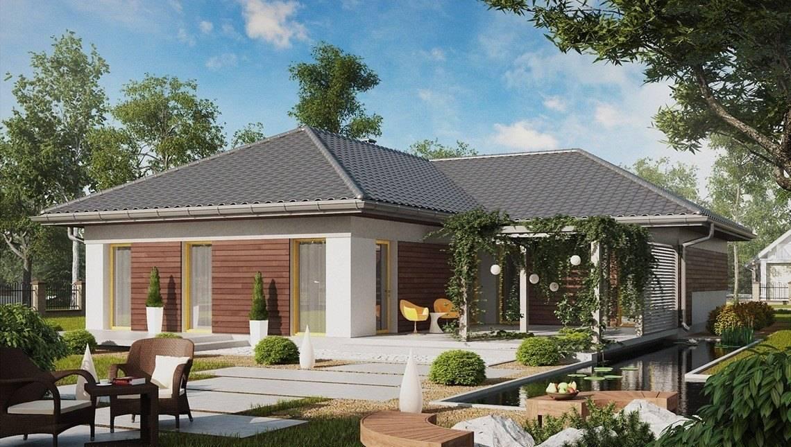 Проект одноэтажного дома с большой террасой