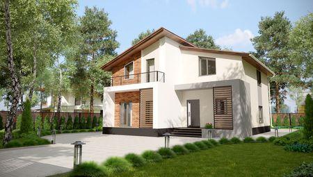 Проект современного дома на два этажа в классическом стиле