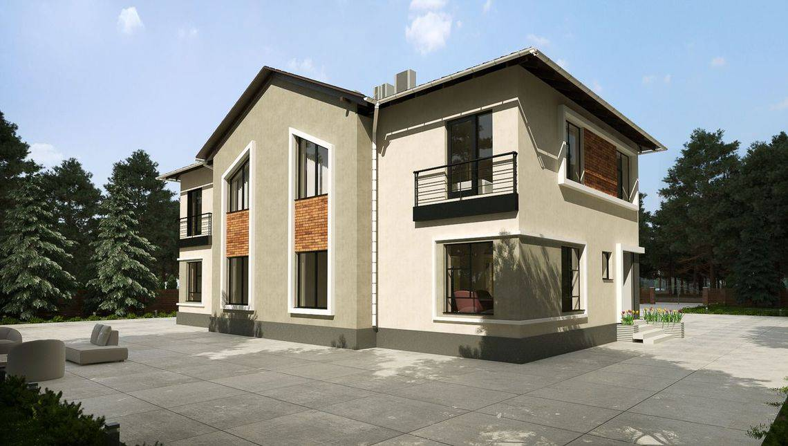 План привлекательного особняка для проживания трех семей