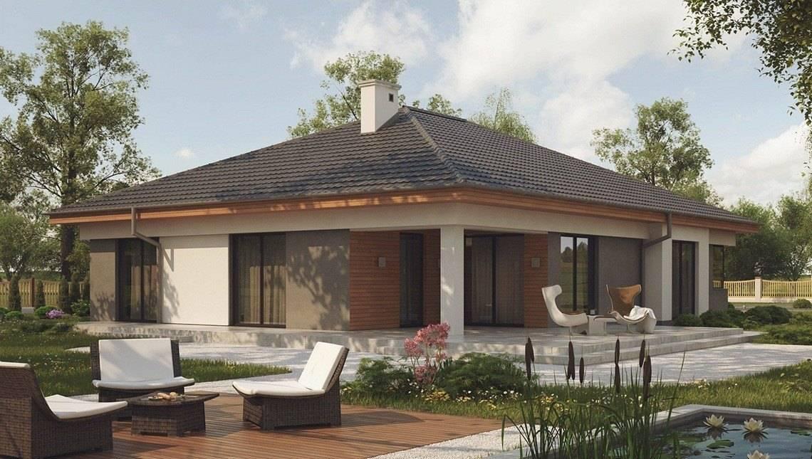Проектодноэтажного дома с эркером и террасой