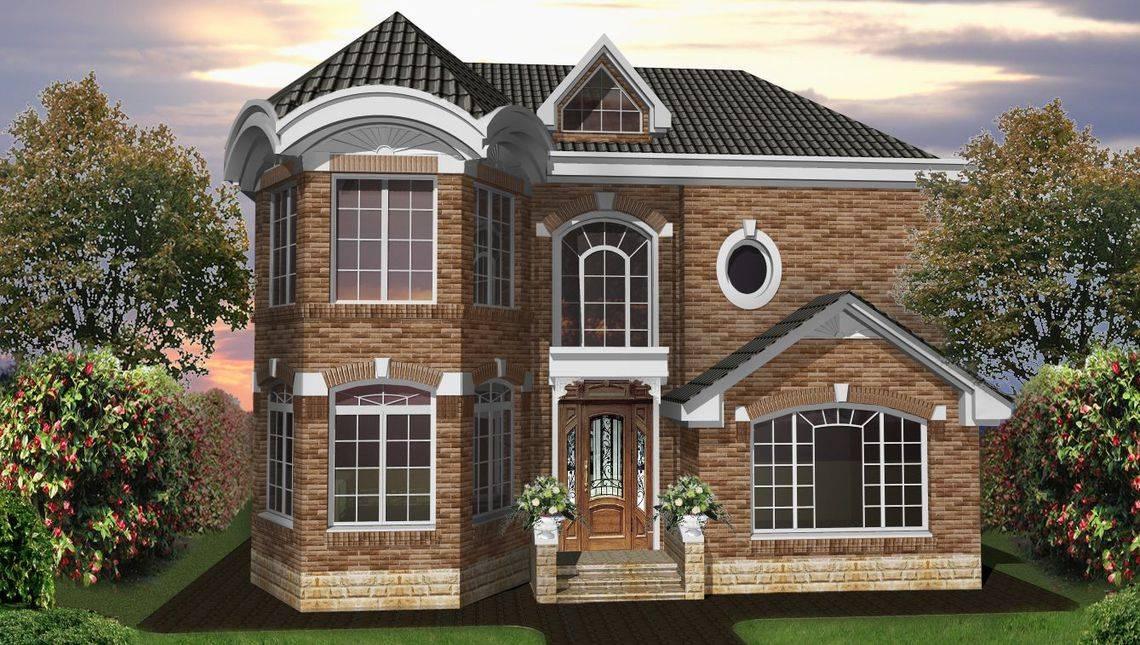 Проект классического двухэтажного особняка с кирпичным фасадом