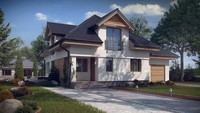 Проект красивого дома с мансардой и гаражом