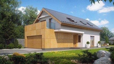Проект дома с мансардой и гаражом для узкого участка