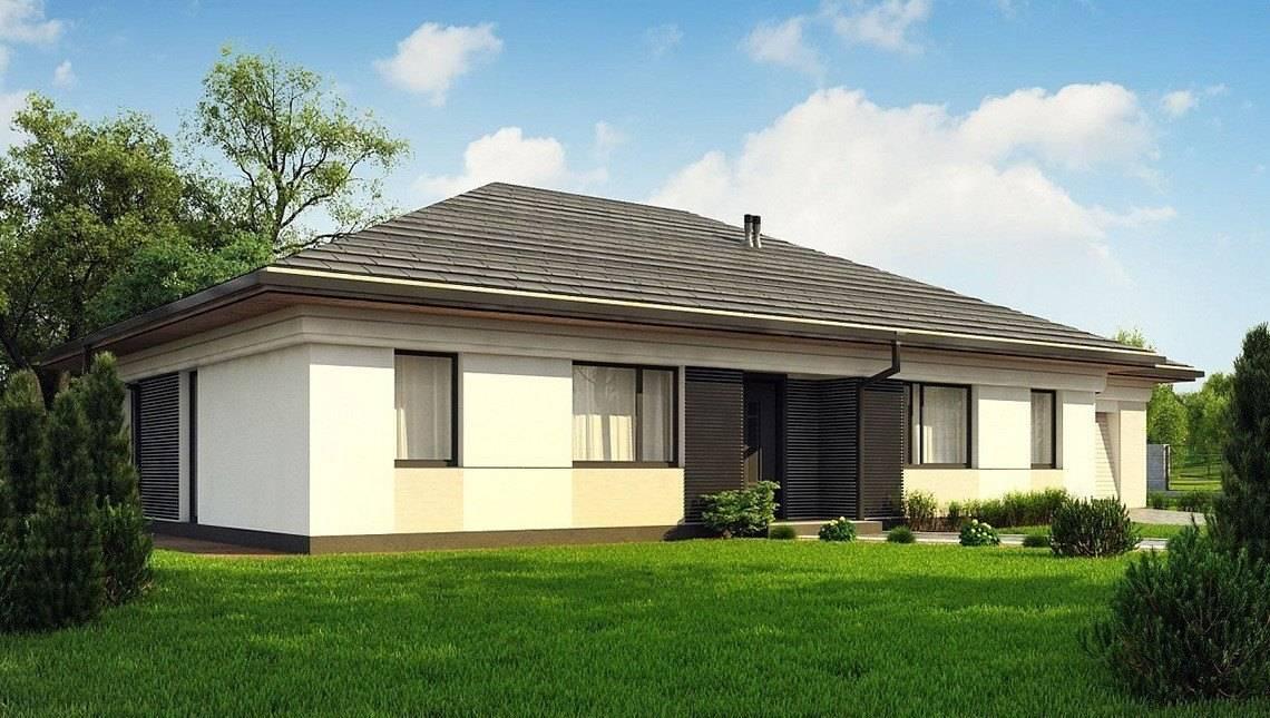 Одноэтажный коттедж для узкого участка