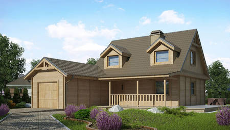 Двухэтажный дом с пристроенным гаражом на одно авто