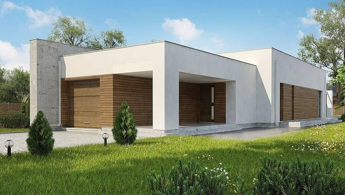 Модерновый одноэтажный дом для узкого участка