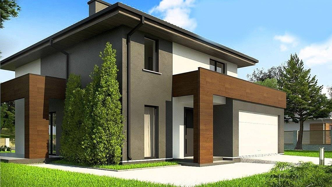 Двухэтажный коттедж с большими панорамными окнами и просторной террасой