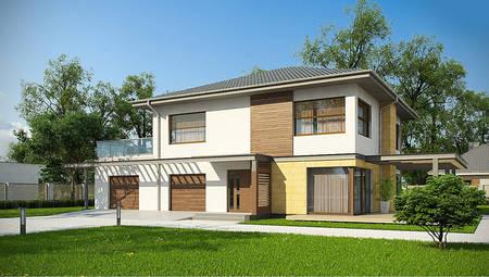 Стильный дом с просторной террасой над гаражом