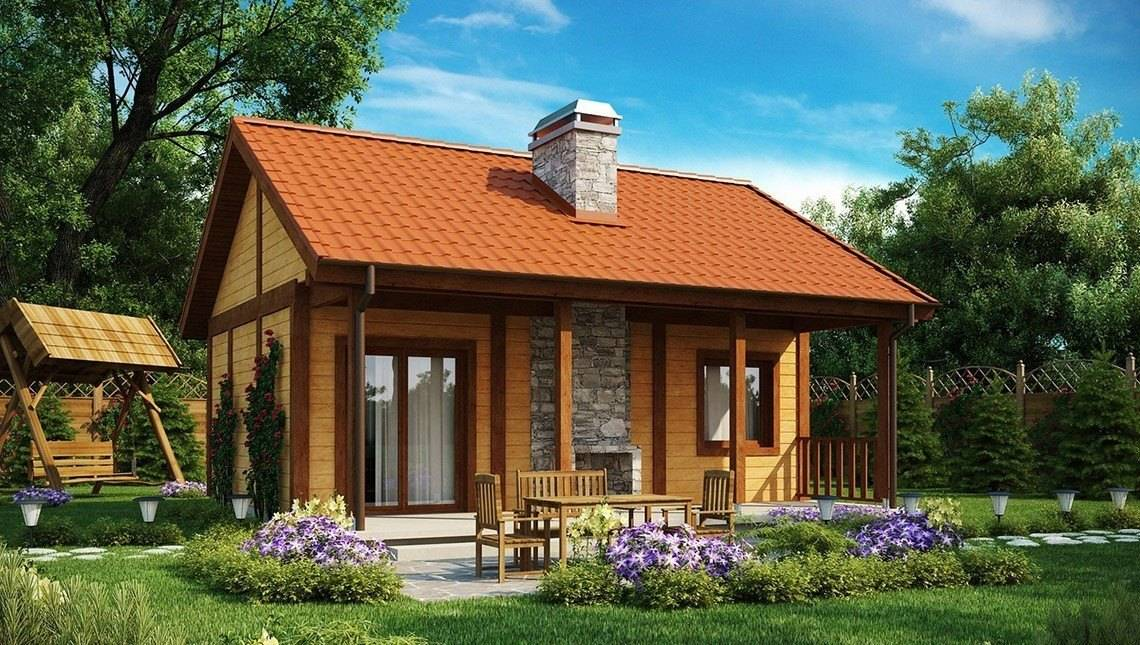 Проект небольшого бюджетного одноэтажного дома с деревянным фасадом