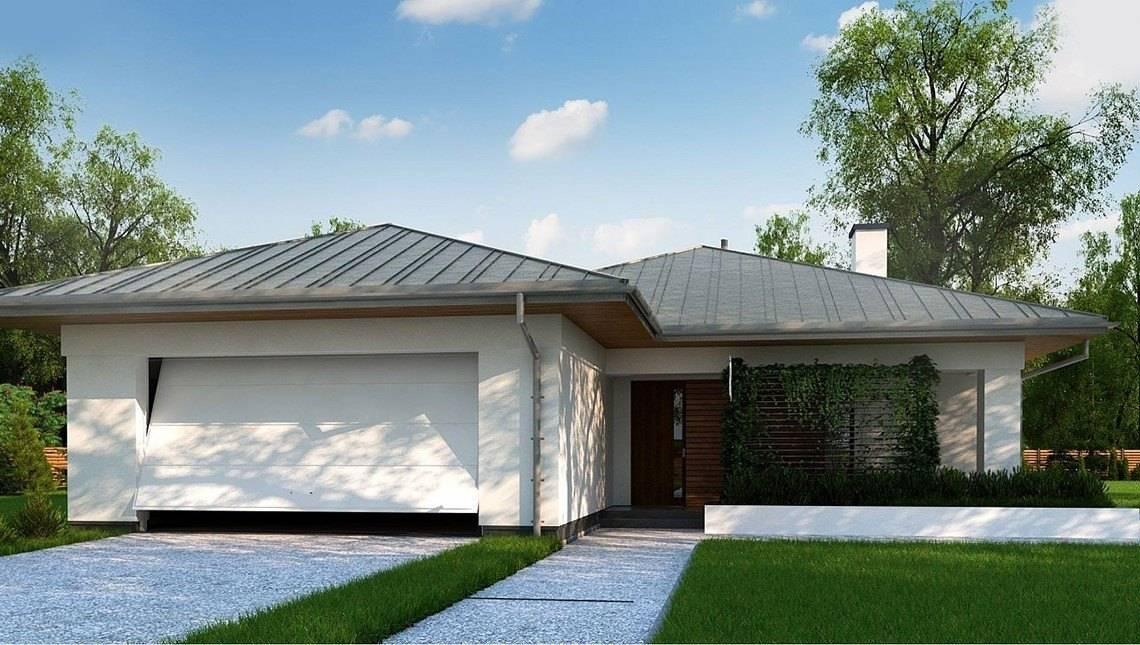 Проект классического одноэтажного коттеджа с гаражом на две машины площадью до 150 m²