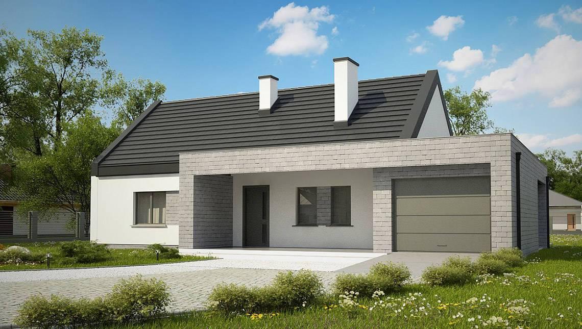 Одноэтажный классический дом для узкого участка