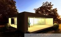 Одноэтажный небольшой стильный коттедж с плоской крышей