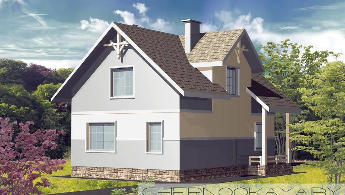 Симпатичный двухэтажный коттедж с цокольным этажом