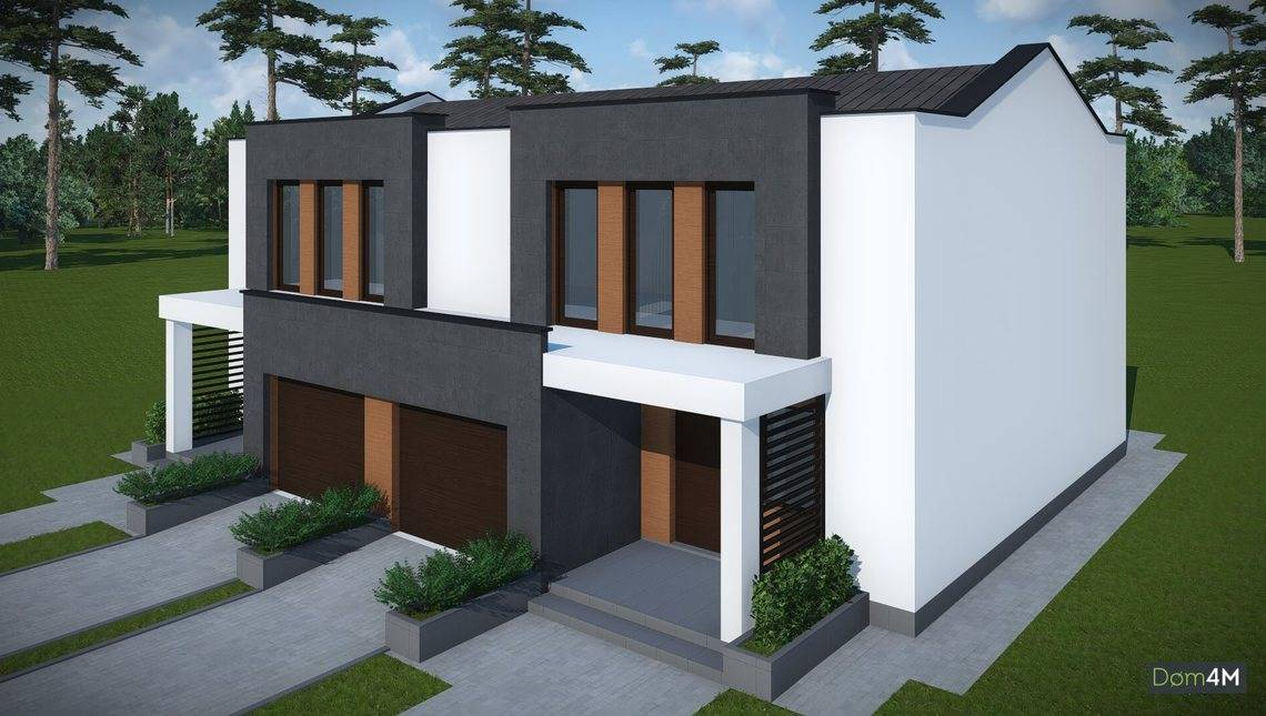 Архитектурный проект современного дома на две семьи