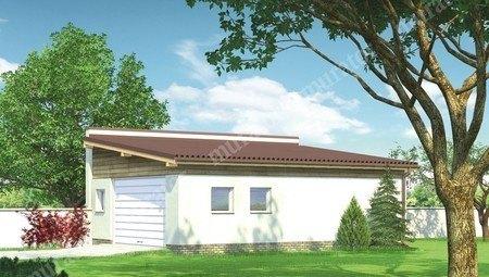 Просторный гараж на две машины с односкатной крышей