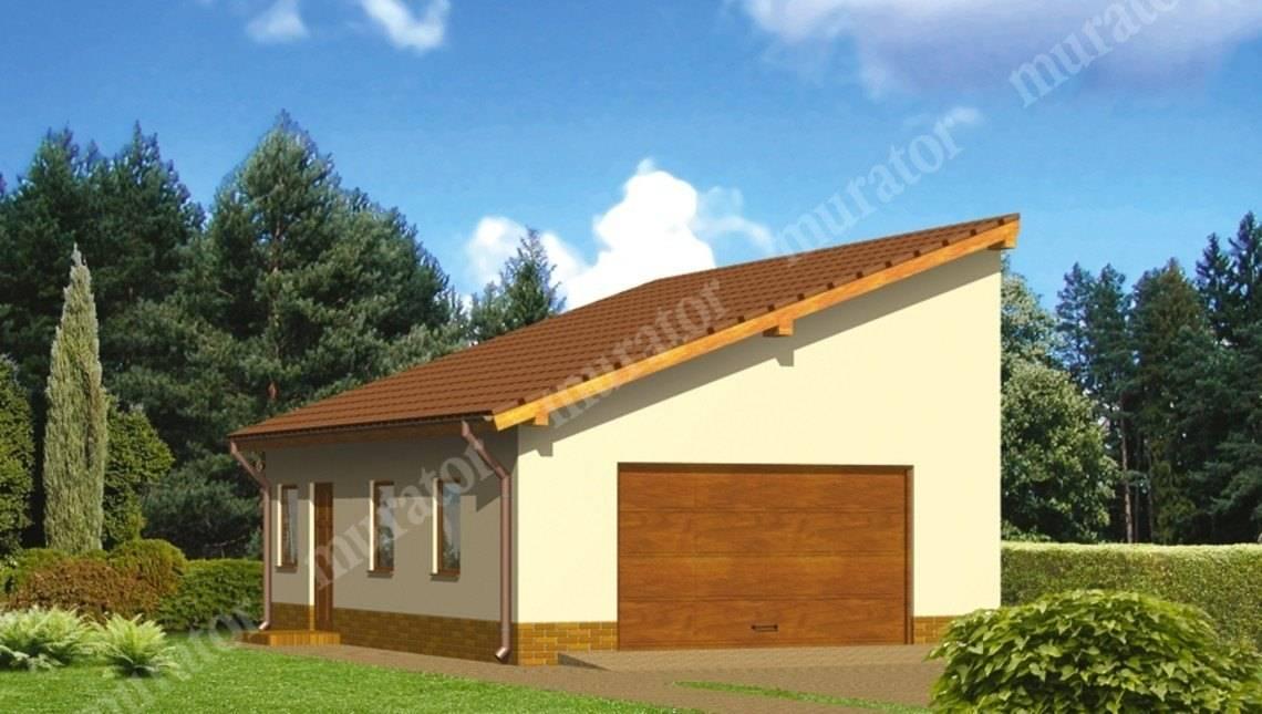 Просторный гараж под односкатной крышей
