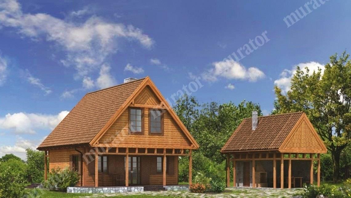 Деревянный дом с большой террасой