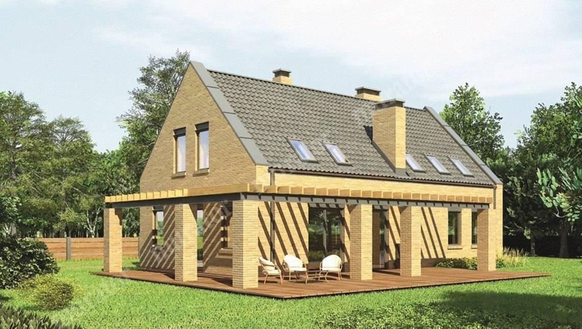 Интересный кирпичный дом на 2 этажа