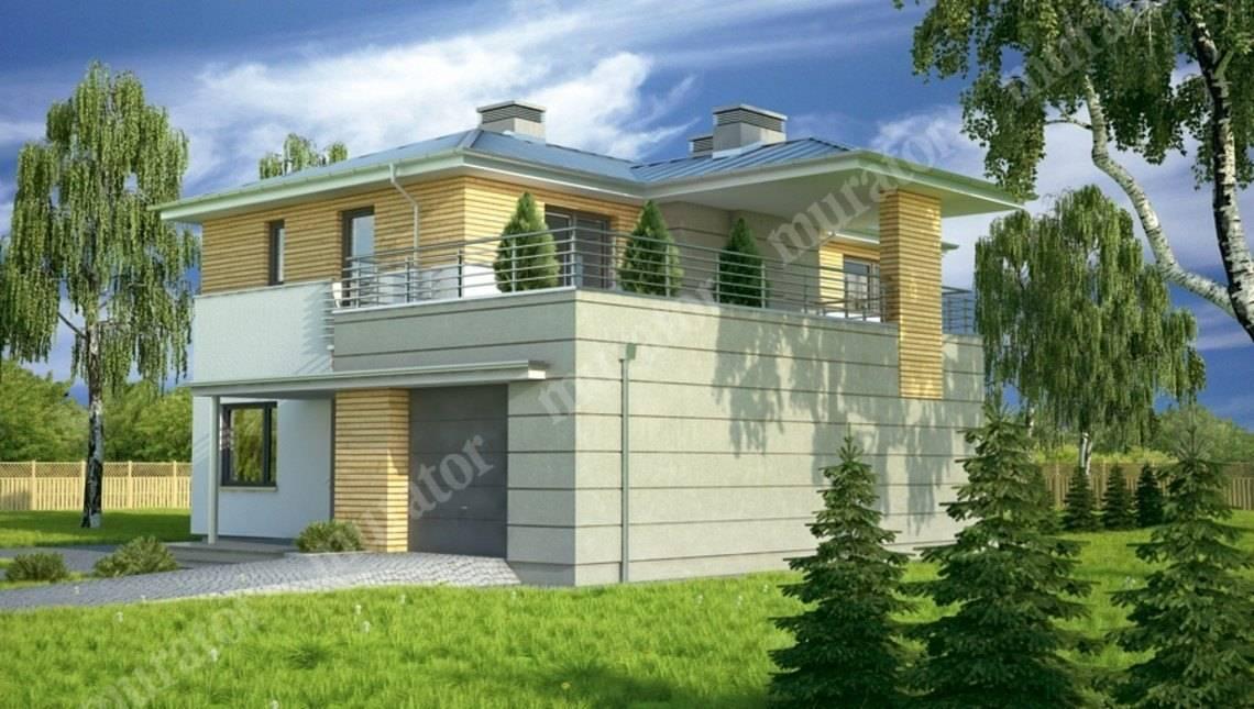Стильный дом с большой террасой на втором этаже