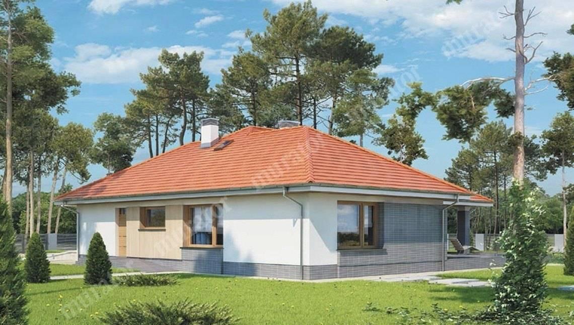 Одноэтажный дом в жизнерадостных тонах