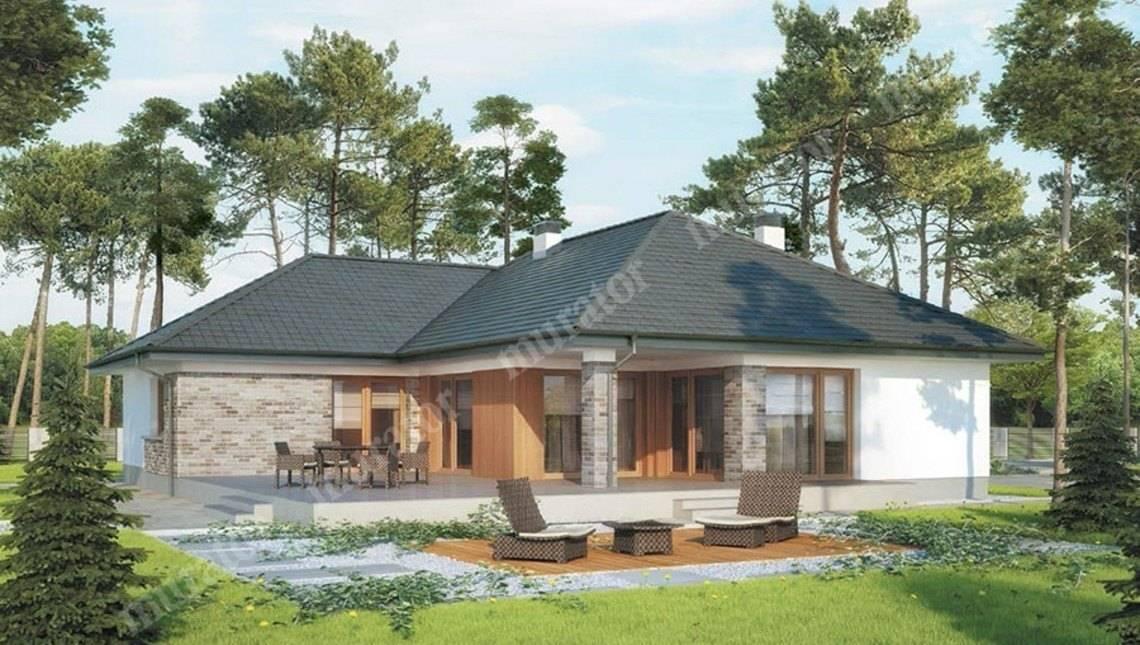 Одноэтажный дом в натуральных тонах