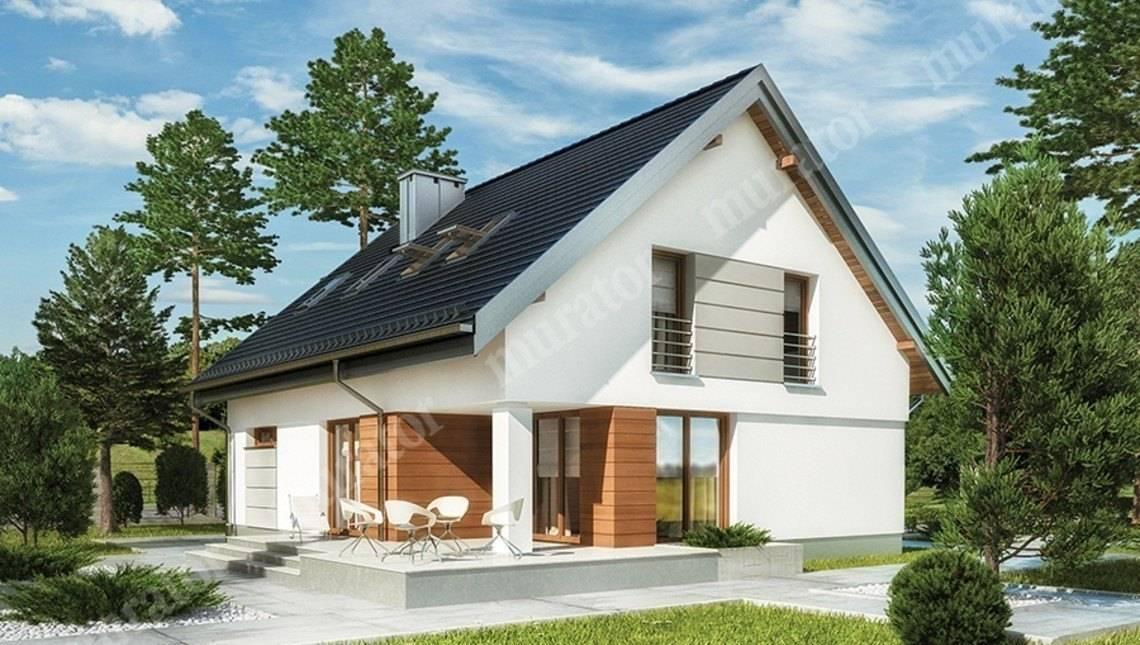 Двухэтажный дом с интересным декором