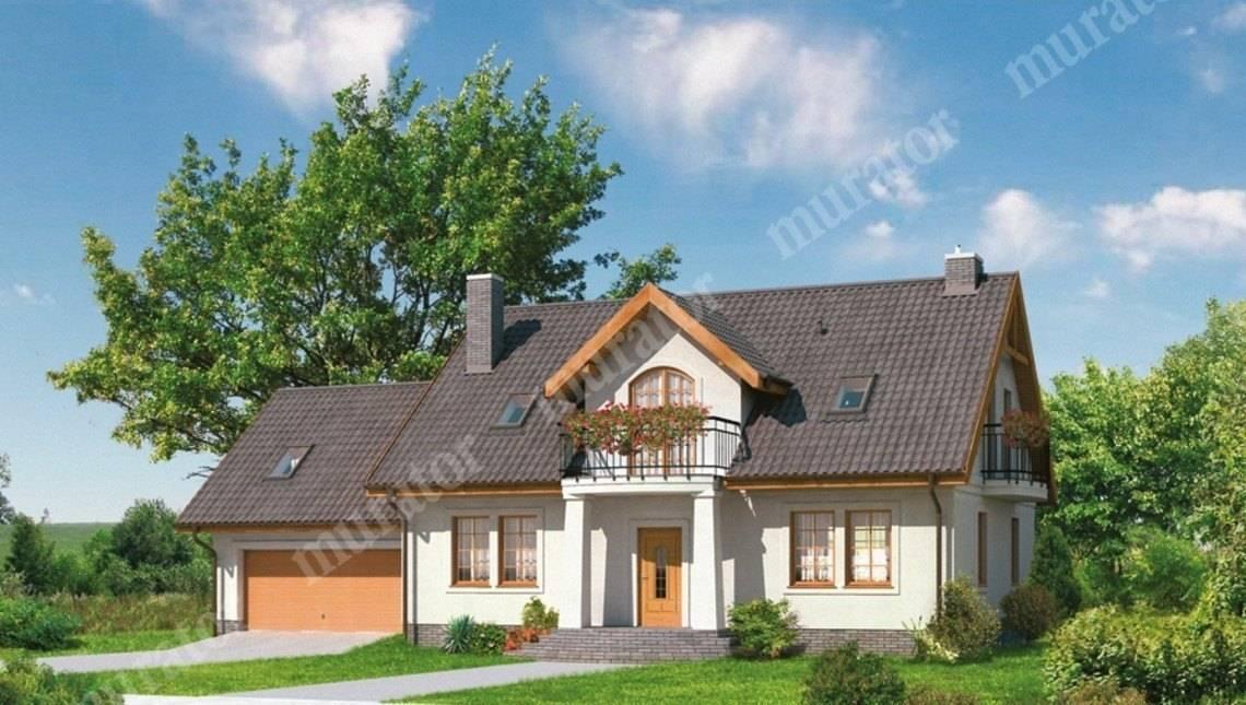 Двухэтажный дом в классическом стиле с гаражом