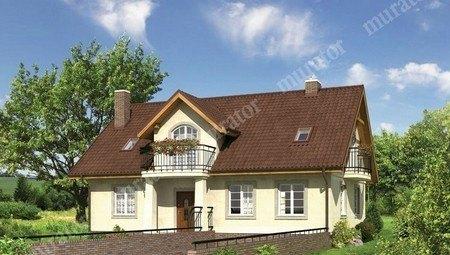 Двухэтажный дом с широким подъездом