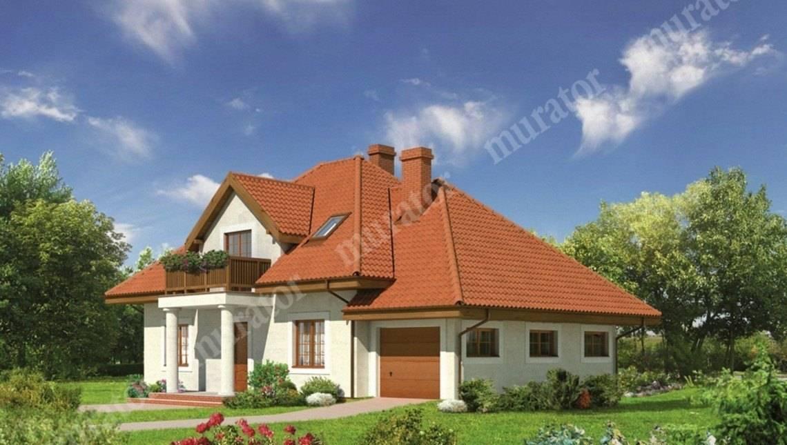 Симпатичный дом под крышей сложной формы