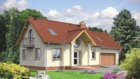 Красивый дом с двумя круглыми балконами