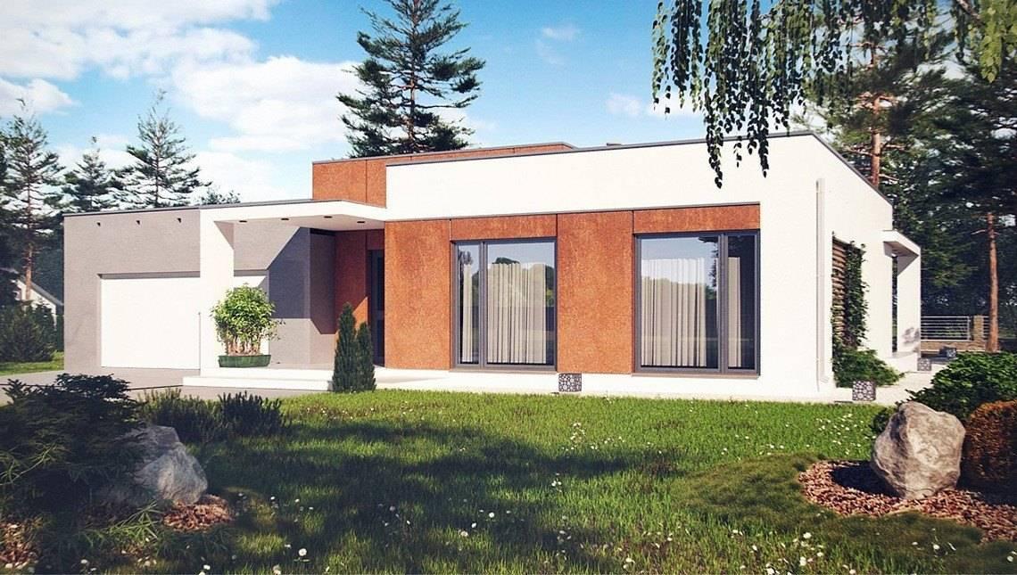 Проект современного дома с плоской крышей и гаражом для двух авто