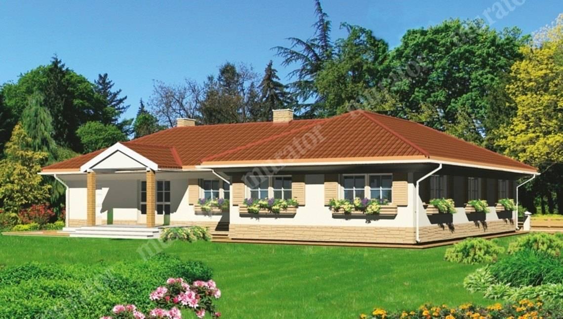 Одноэтажный дом Т - образной формы