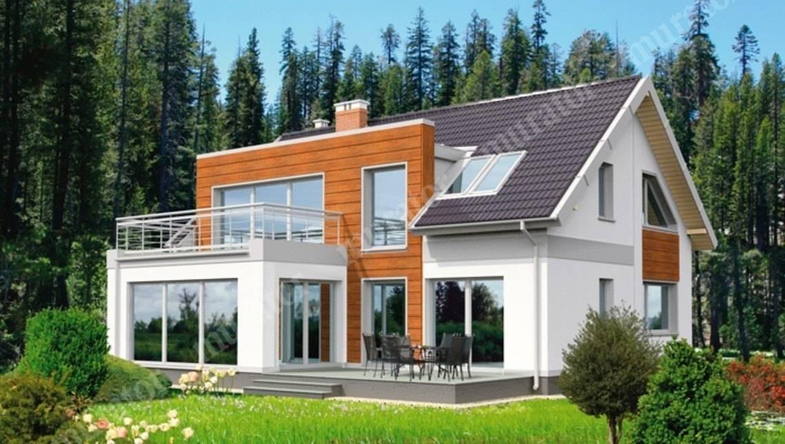 Двухэтажный дом интересной формы
