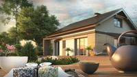 Проект классического одноэтажного загородного дома с мансардой и двускатной крышей