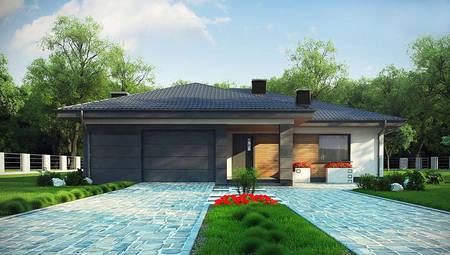 Проект современного дома на 167 кв. м, декорированного фасадными панелями серого цвета