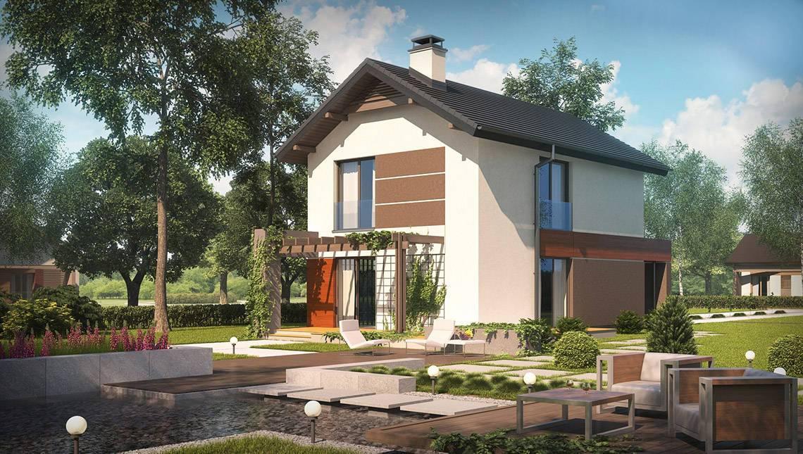 Проект двухэтажного коттеджа с гаражом