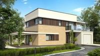 Проект современного двухэтажного коттеджа с летней террасой