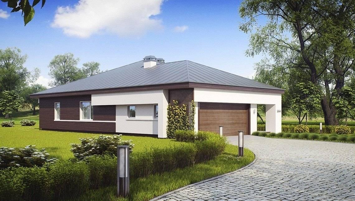 Проект одноэтажного коттеджа с гаражом для двух автомобилей