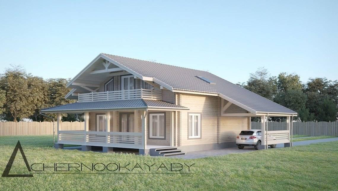 Приятный особняк из деревянного бруса под двускатной крышей