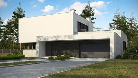 План современного особняка площадью 283 кв. м с пристроенным гаражом на два автомобиля