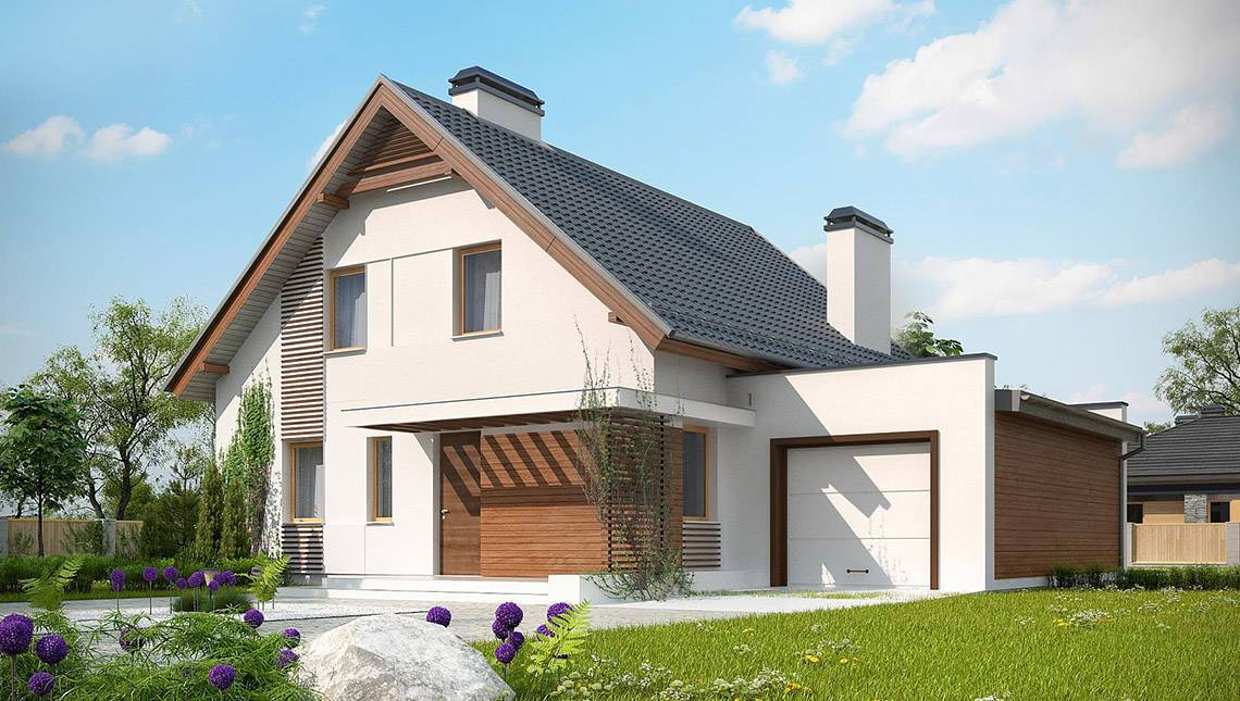 фасады домов с пристроенным гаражом фото