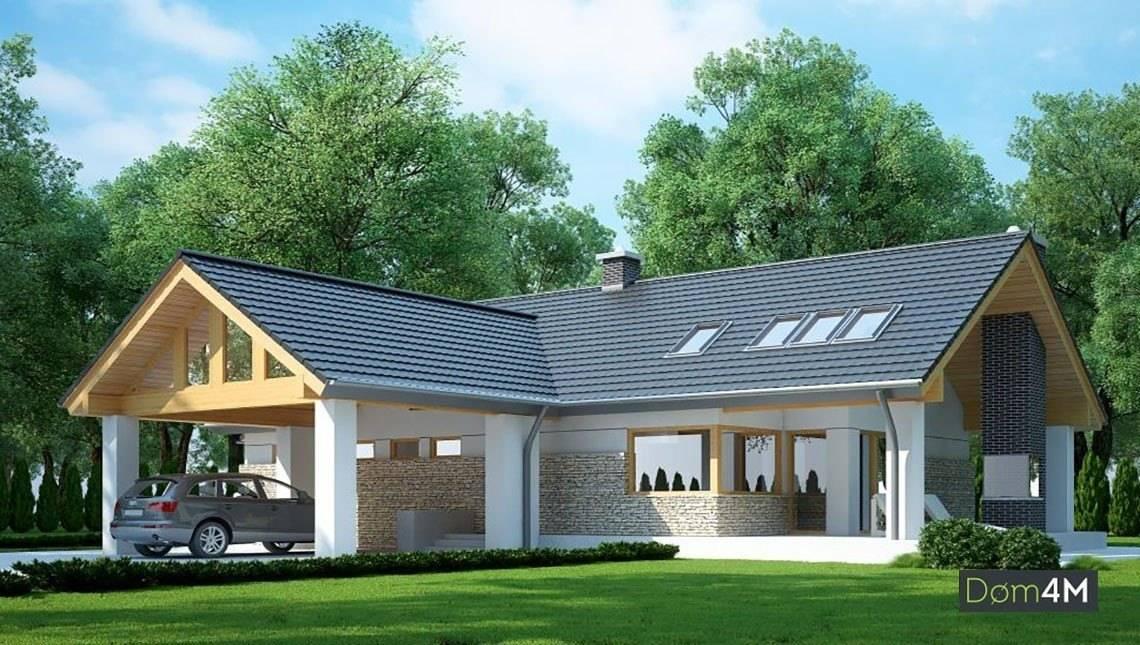 Красивый жилой дом с необычным решением для гаража
