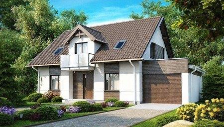 Проект дома с гаражом и оригинальной мансардой