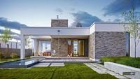 Одноэтажный жилой дом с бассейном