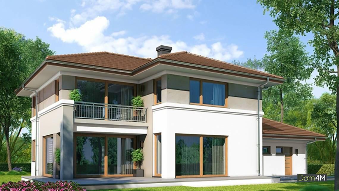 Современный двухэтажный дом в классическом стиле
