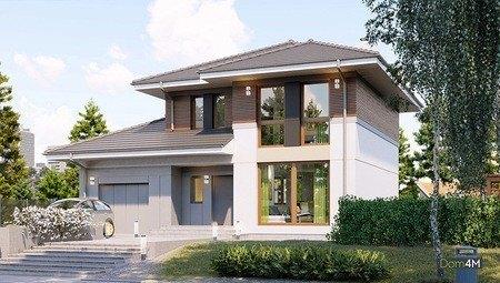 Красивый двухэтажный дом цвета кофе