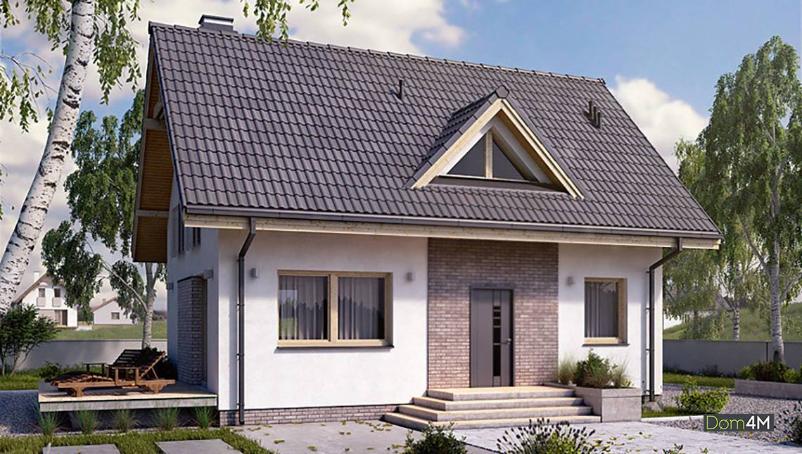 Жилой дом с открытыми верандами под двускатной крышей