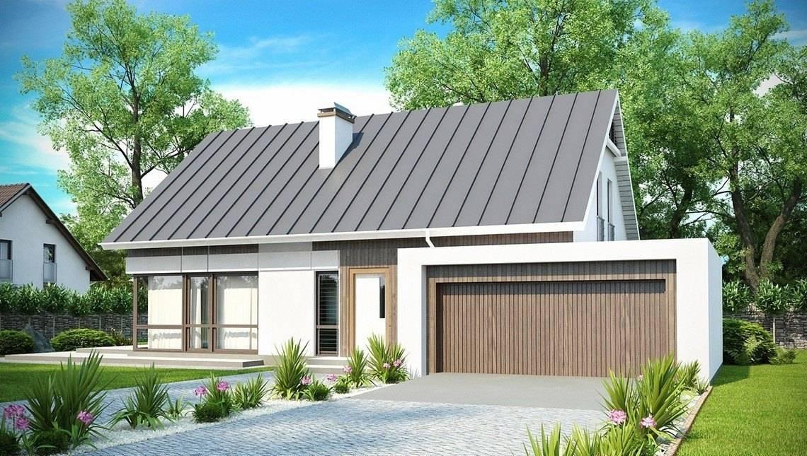 Проект дома с мансардой, гостиной и гаражом на две машины